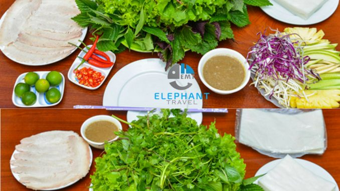 Chuẩn bị tất cả những eo, rau sống, bánh tráng cuốn, bún ra đĩa, nước chấm lên bàn